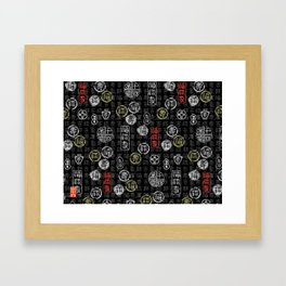 chinese characters pattern Framed Art Print