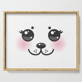 Kawaii funny albino animal white muzzle with pink cheeks and big black eyes Serving Tray