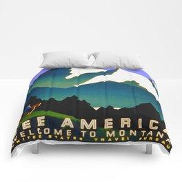 See America Montana - Retro Travel Poster Comforters