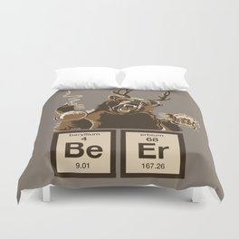 Funny chemistry bear discovered beer Duvet Cover