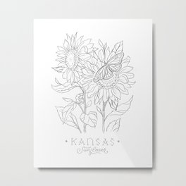 Kansas Sketch Metal Print