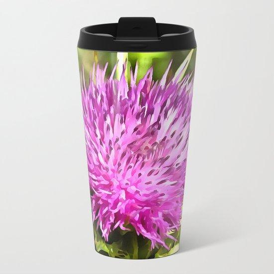 Purple Thistle Wildflower Metal Travel Mug