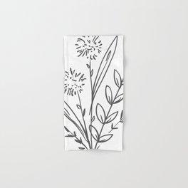 Line Art of Flowers 2 Hand & Bath Towel