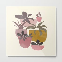 Succulents in Terracotta Metal Print