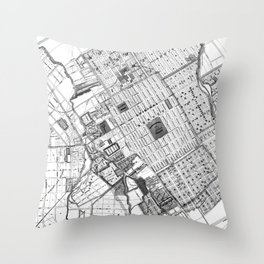 Vintage Map of San Jose California (1886) BW Throw Pillow