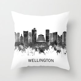 Wellington New Zealand Skyline BW Throw Pillow