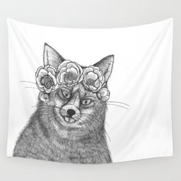 vixen fox wearing a crown of peonies Wall Tapestry