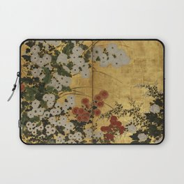 White Red Chrysanthemums Floral Japanese Gold Screen Laptop Sleeve