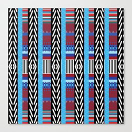 Black Blue Etnic Canvas Print