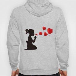 Girl blowing heart bubbles Hoody