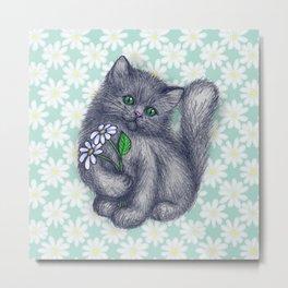 Cute Kitten with Daisies Metal Print