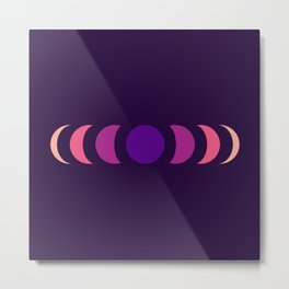 Abstract Minimal Purple Retro Style Moon Phase - Chikayuki Metal Print