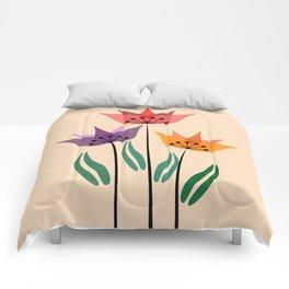 Retro tulips Comforters