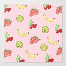 Pink Fruit Pattern Canvas Print