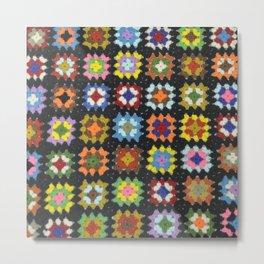 Crochet Granny Squares // Bright Metal Print