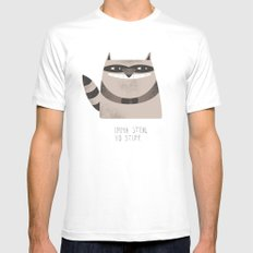 Sneaky Raccoon White LARGE Mens Fitted Tee