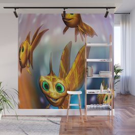 Three little fishies and a mama fishie too Wall Mural