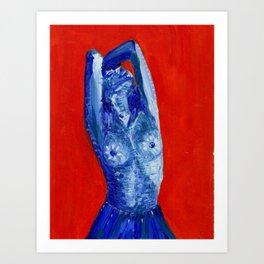 blue girl in blue skirt Art Print
