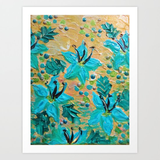 BLOOMING BEAUTIFUL - Modern Abstract Acrylic Tropical Floral Painting, Home Decor Gift for Her Art Print