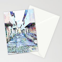 Camerata Nuova: glimpse of the street with gray buildings Stationery Cards