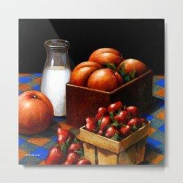 Milk & Fruit Metal Print