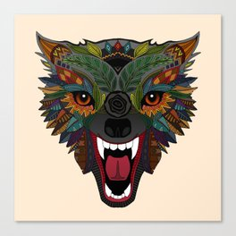 wolf fight flight ecru Canvas Print