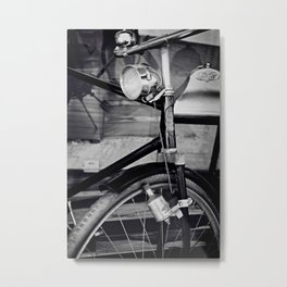 Bicyclette vintage retro bike black and white Metal Print