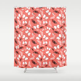 Butterflies and Moths - Coral Shower Curtain