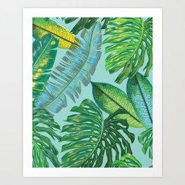 Monstera Pattern on Aqua Art Print