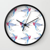 swallow Wall Clocks featuring Swallow by Shelley Jayne Illustration
