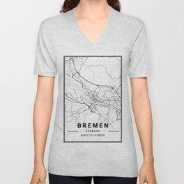 Bremen Light City Map Unisex V-Neck
