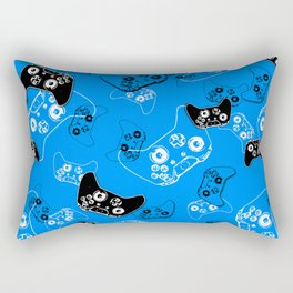 Video Game in Blue Rectangular Pillow