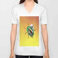 beetle V-neck T-shirts featuring Beetle by Joe Ganech