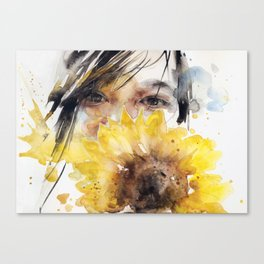 Sunflower girl Canvas Print
