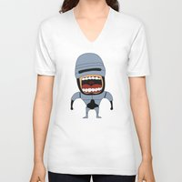 robocop V-neck T-shirts featuring Screaming Robocop by That Design Bastard
