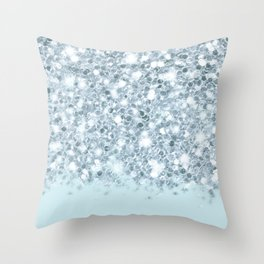 Silver & Alice Blue Glitter Ombre Throw Pillow