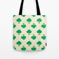 vegetable Tote Bags featuring VEGETABLE-BROCCOLI! by Claudia Ramos Designs