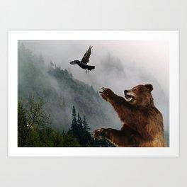 The Trickster - Raven & Grizzly Bear Art Print Art Print
