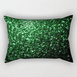 Glamour Dark Green glitter sparkles Rectangular Pillow