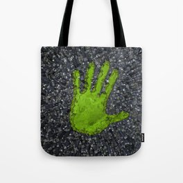 Carbon handprint / 3D render of modern city with handprint shaped park Tote Bag