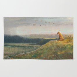 Red Fox Looks Out Over the Valley Rug