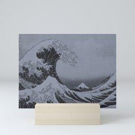Silver Japanese Great Wave off Kanagawa by Hokusai Mini Art Print