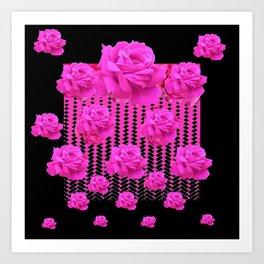 MODERN BLACK ART CERISE PINK ROSE GARDEN Art Print