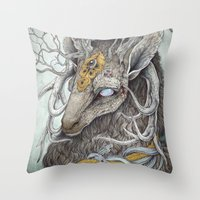 forrest Throw Pillows featuring In Memory, as a print by Caitlin Hackett