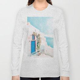 Santorini Greece Cozy blush travel photography in hd. Long Sleeve T-shirt