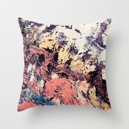 Brilliance: vibrant, colorful and textured in purple, gold, pink, blue, and white Throw Pillow