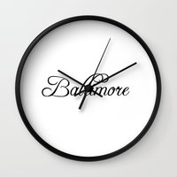 baltimore Wall Clocks featuring Baltimore by Blocks & Boroughs
