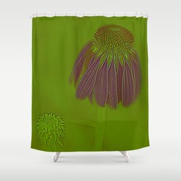 Echinacea in Pink Shower Curtain