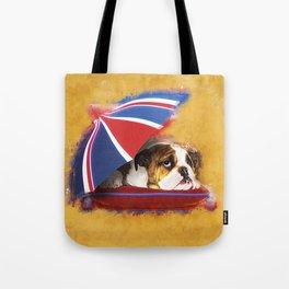 English Bulldog Puppy with umbrella Tote Bag