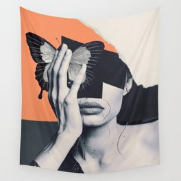 collage art / butterfly Wall Tapestry